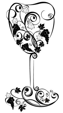 grapevine: Stylized wine glass