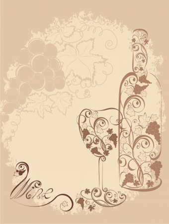 Stylized wine bottle and wine glass  Vector