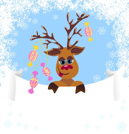 Christmas funny Reindeer with blank for your text  Stock Vector - 16949581