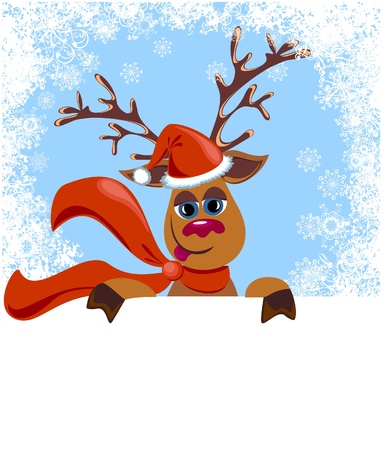Christmas funny Reindeer with blank for your text Stock Vector - 16949582