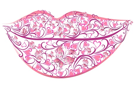 Sensuality lips. Flower lips with butterflies Vector