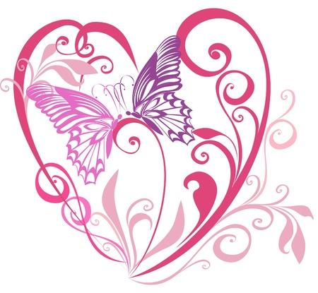 papillon rose: Joli coeur avec ornement, élément floral pour un vecteur de conception, Illustration