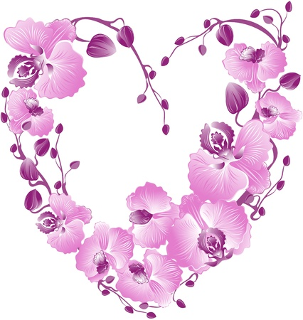 Heart from purple orchid. Vector Valentines card.  Vector
