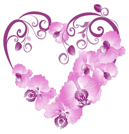 orchid branch: Heart from purple orchid. Vector Valentines card.  Illustration
