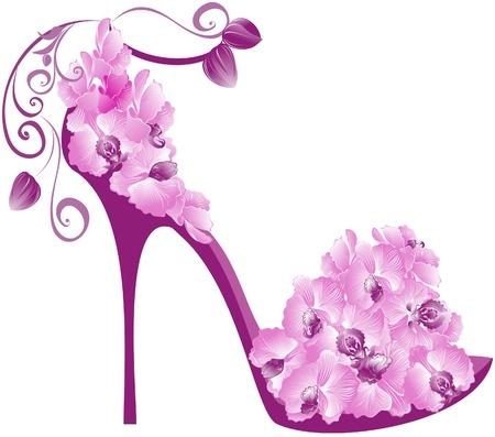 zapato: Ilustraci�n vectorial de tac�n alto orqu�deas. Zapatos decorado con orqu�deas