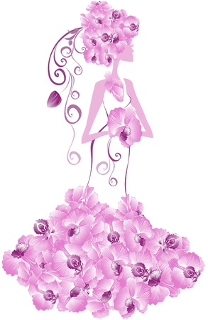 Bride in dress from flowers of orchids. Abstract vector wedding card Vector