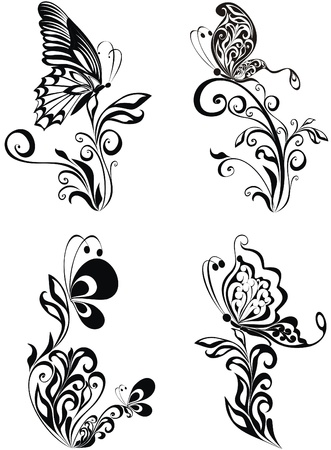butterfly silhouette: Decorative vector ornament. Vector floral ornament with butterfly, element for design