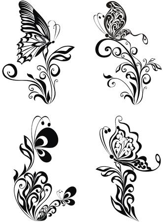 cadre noir et blanc: Vecteur d'ornement d�coratif. Vector ornement floral avec papillon, �l�ment pour la conception
