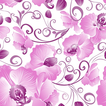 orchid branch: Seamless pattern of purple orchids