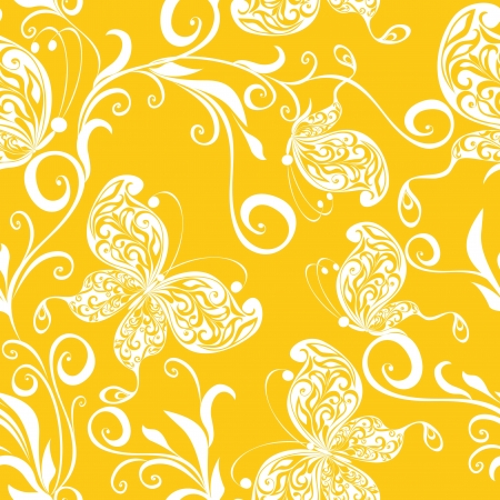 Seamless wallpaper with butterflies Stock Vector - 17357718
