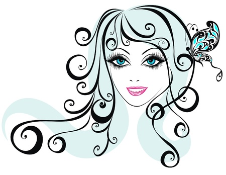 Beautiful young girl with butterfly in hair  Beauty girl face with butterfly Stock Vector - 17387701