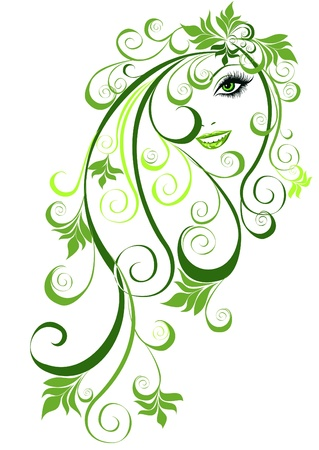sensuality: Summer girl with floral elements in hair  Vector illustration abstract girl with floral hair  Illustration