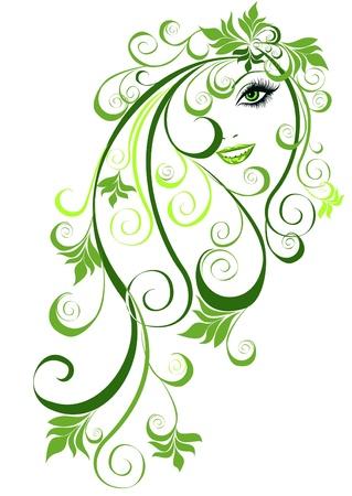 Summer girl mit floralen Elementen im Haar Vector illustration abstract girl with floral hair
