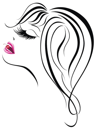 Sexy woman face  Beautiful young girl icon  Vector illustration Stock Vector - 17387698