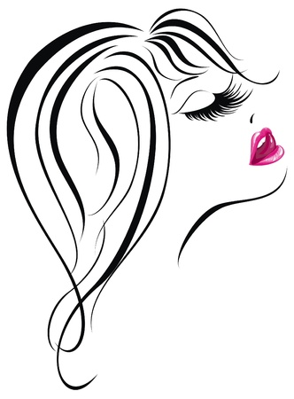 Sexy woman face  Beautiful young girl icon  Vector illustration Stock Vector - 17387696