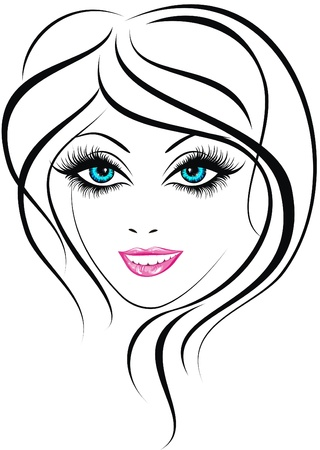 Beauty face  Beautiful young girl icon  Stock Vector - 17387705