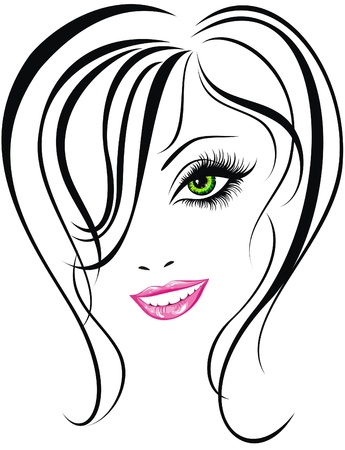 Beauty face  Beautiful young girl icon Stock Vector - 17387703