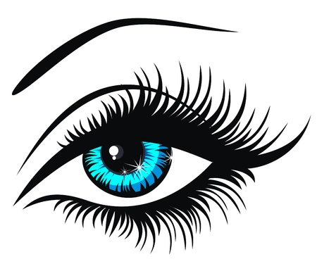 yeux maquill�: Vector illustration beaux yeux bleu femelle