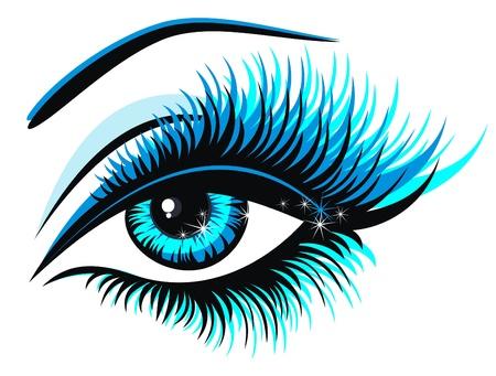 yeux maquill�: Belle femme yeux bleus Illustration