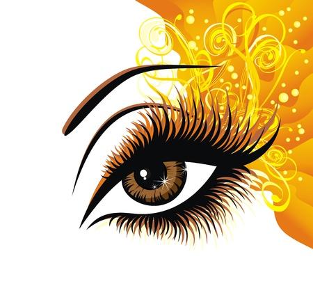 美しい女性の茶色の目