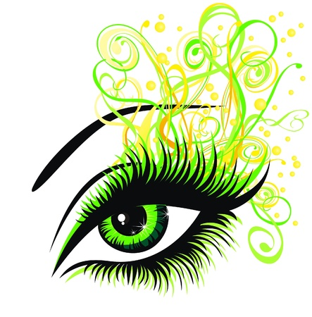 women face stare: Beautiful female green eye
