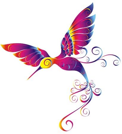 Hummingbird geïsoleerd op een witte achtergrond Vector Illustratie