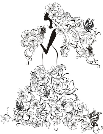 silhouette of bride: Beautiful bride with floral dress and veil