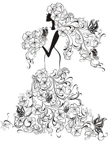 divas: Hermosa novia con vestido de flores y velo