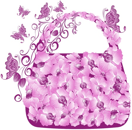 fashion bags: Floral shopping bag with orchids and butterflies Illustration