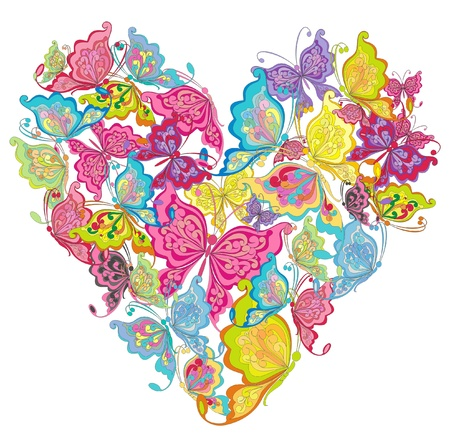 Floral Love Shape  Vector Heart of butterflies  Vector