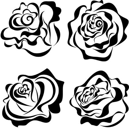 zwart wit tekening: Gestileerde rozen geà ¯ soleerd op witte achtergrond