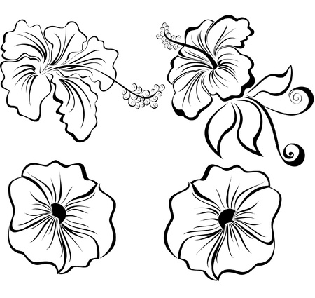 tatouage fleur: Stylisés de fleurs en noir et blanc isolé sur fond blanc
