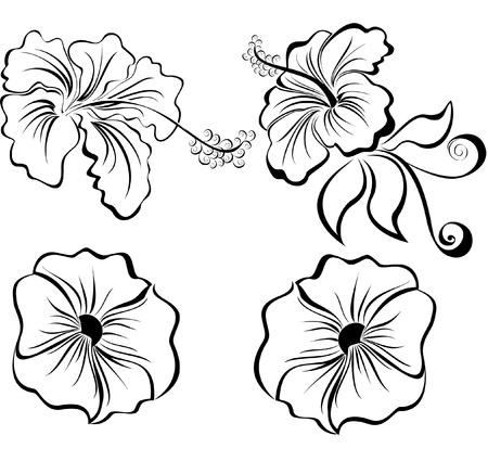 flower tattoo design: Stylized black and white flowers isolated on white background Illustration