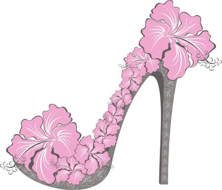 Shoes on a high heel decorated with hibiscus Vector