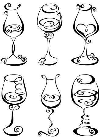 dessin au trait: Verre � vin stylis� en noir et blanc