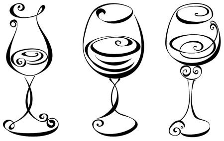 Estilizada vino negro y blanco cristal