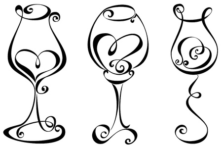 stylized design: Stylized black and white wine glass