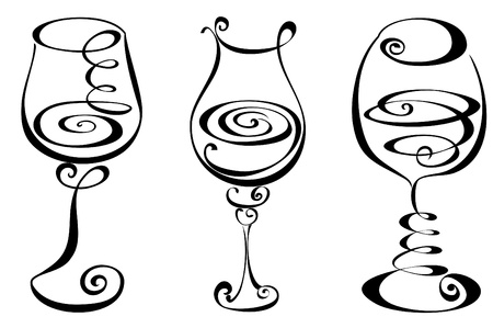 Stylized black and white wine glass Stock Vector - 17474735