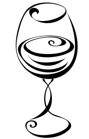 wine glass: Stylized black and white wine glass