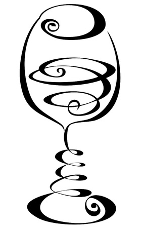 Stylized black and white wine glass Stock Vector - 17474721