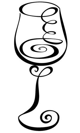 glass wine: Stylized black and white wine glass