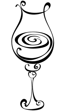 Stylized black and white wine glass Stock Vector - 17474722