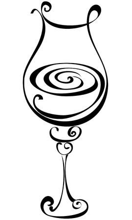 bocal: Stylized black and white wine glass