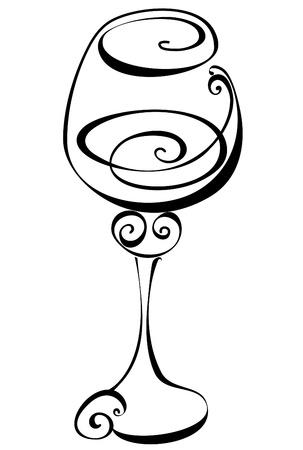 bocal: Stilizzato in bianco e nero bicchiere di vino