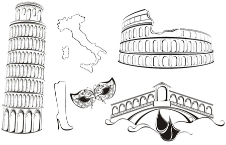 rialto bridge: Famous landmarks of Italy. Black and white sketch