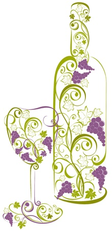 winemaking: wine bottle and wine glass Illustration