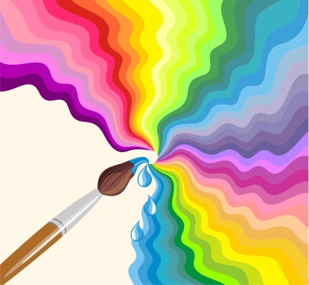 Rainbow brush. Abstract colorful background