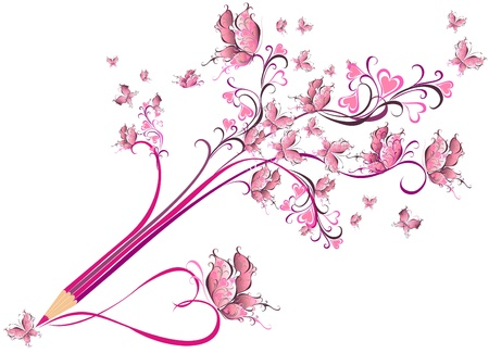 Creative pencil whit floral ornate and butterfly art concept Vector