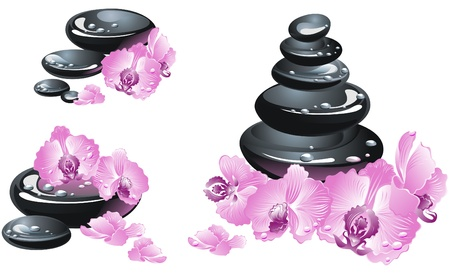 oriental medicine: Spa stones with flower orchids Illustration