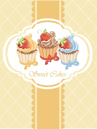 layout strawberry: Vintage card with cupcakes